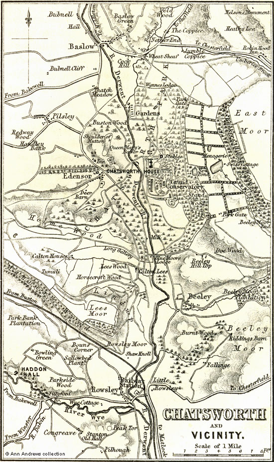 Old Derbyshire Maps Chatsworth and Vicinity 1864